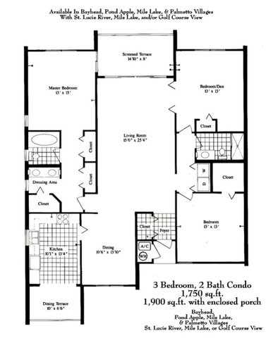 Harbour ridge yacht country club by hr properties for Condo floor plans 2 bedroom